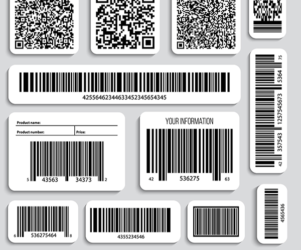Various printed labels with barcodes and QR codes