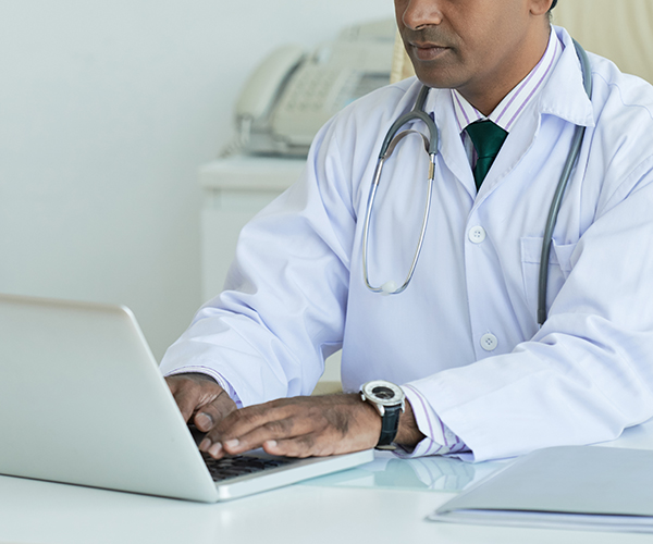 End user doctor ordering products online from storefront website