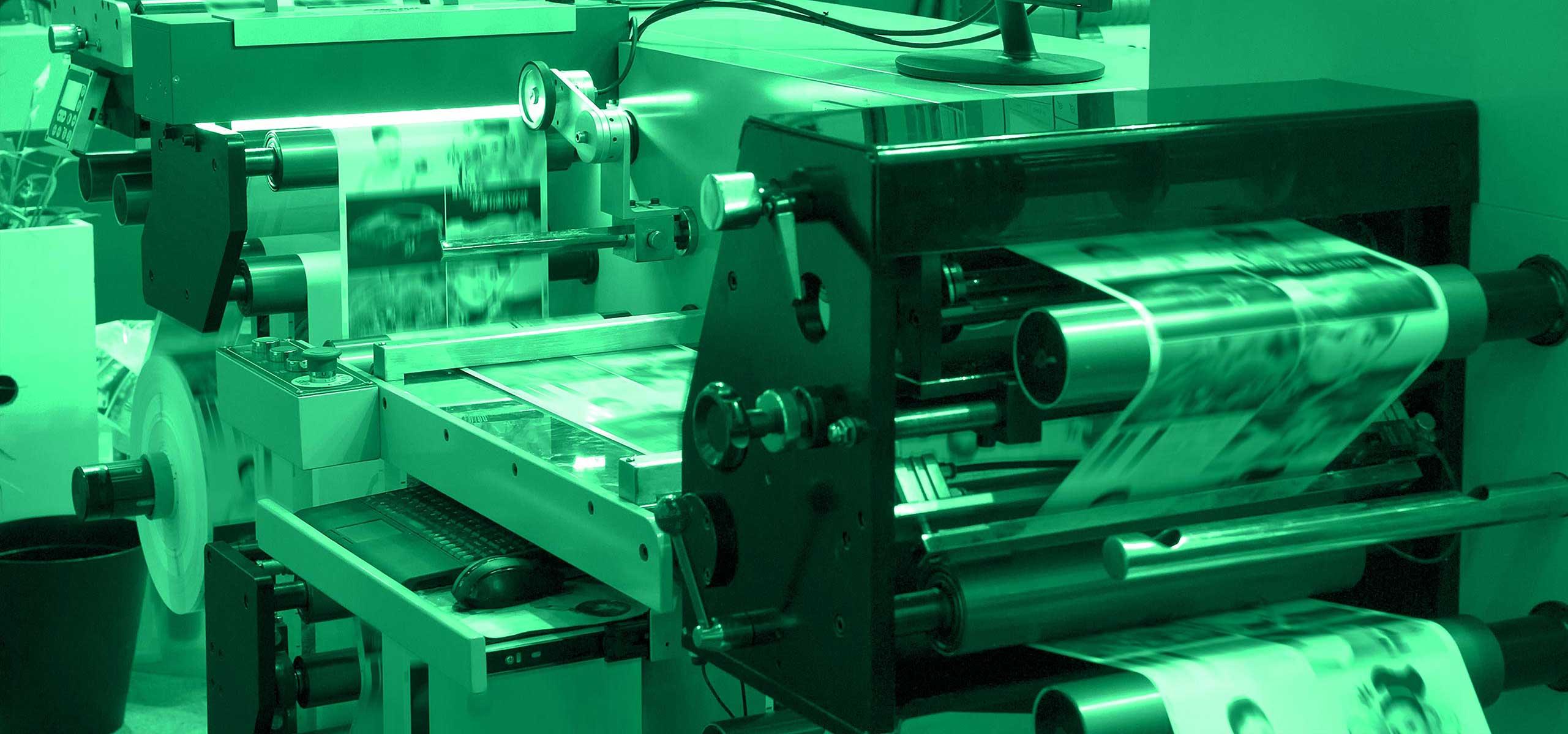 Printing press running a job