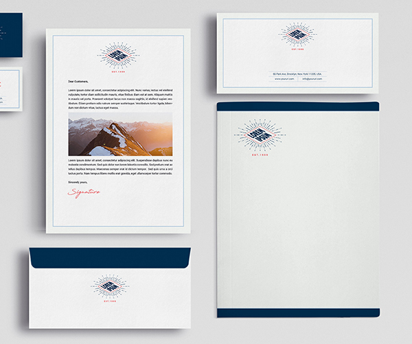 Full-color stationery with letterhead and envelope